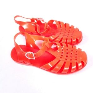 MEDUSE Neon Coral Orange Jelly Sandals Size 6.5